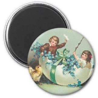 Children in Floral Eggshell Boat Vintage Magnet