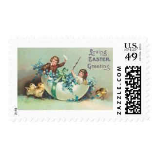 Children in Floral Eggshell Boat Vintage Postage