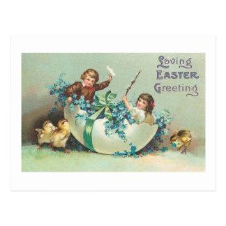 Children in Floral Eggshell Boat Vintage Postcard