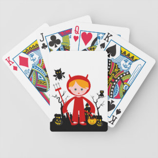 Children in Halloween devil costume Bicycle Playing Cards