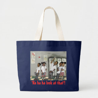 children in line large tote bag
