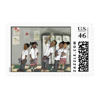 children in line stamp