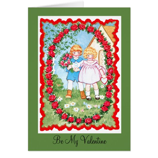 Children in Rose Frame Valenitne Card