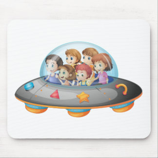 Children in spaceship mouse pad