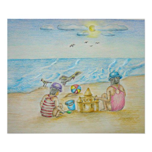 children in the beach poster