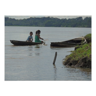 Children in Wooden Boat on Napo River in Peru Poster