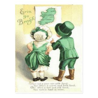 Children Irish Map Erin Go Bragh Postcard