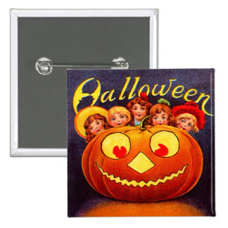 Children Jack O Lantern and Cats Pinback Buttons