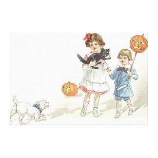 Children Jack O' Lantern Black Cat Dog Canvas Print