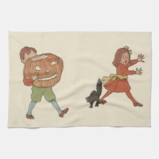 Children Jack O Lantern Pumpkin Black Cat Kitchen Towels
