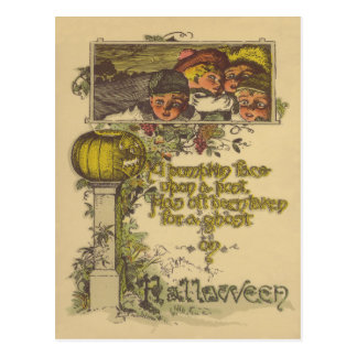 Children Jack O' Lantern Pumpkin Fall Postcard