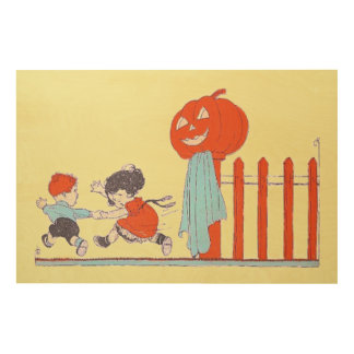 Children Jack O Lantern Pumpkin Fence Wood Prints