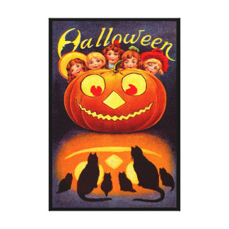 Children, Jack O'Lantern and Cats Gallery Wrap Canvas