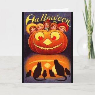 Children, Jack O`Lantern and Cats