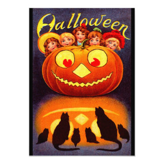 Children, Jack O'Lantern and Cats Announcements