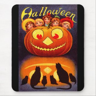 Children, Jack O`Lantern and Cats