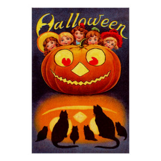 Children, Jack O'Lantern and Cats Posters