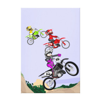 Children jumping in the track of motocross canvas print