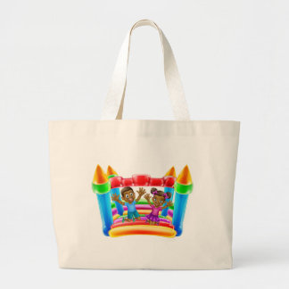 Children Jumping on Bouncy Castle Large Tote Bag