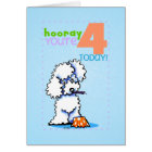 Children Kids Happy Birthday Age 4 Poodle Card