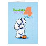 Children Kids Happy Birthday Age 4 Poodle Card
