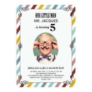 Children Kids Mustache Birthday Party Photo Invite