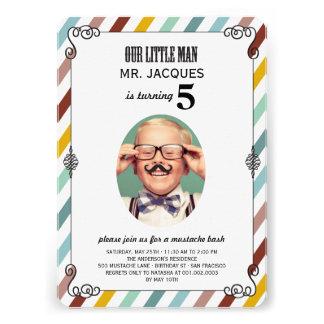 Children Kids Mustache Birthday Party Photo Invite Personalized Invite