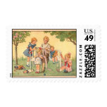 Children Knitting with Yarn Vintage Art Postage Postage Stamps