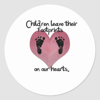 Children leave footprints classic round sticker