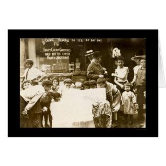 Children Licking Ice Blocks in New York City 1912 Greeting Card