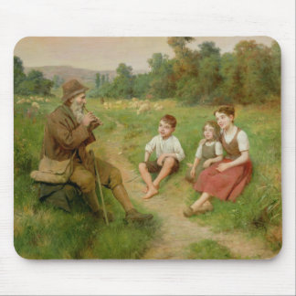 Children Listen to a Shepherd Playing a Flute Mouse Pad