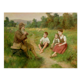 Children Listen to a Shepherd Playing a Flute Post Cards