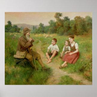 Children Listen to a Shepherd Playing a Flute Print