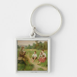 Children Listen to a Shepherd Playing a Flute Silver-Colored Square Keychain
