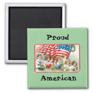 Children Marching with Flag 2 Inch Square Magnet