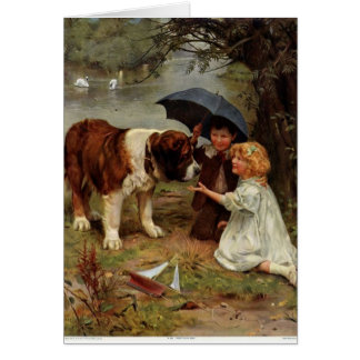 Children Meeting a St. Bernard Dog, Card