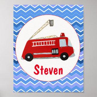 Children name fire truck poster