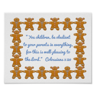 Children Obedient to Parents Scripture~Gingerbread Poster