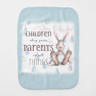 Children Obey Your Parents-Col 3:20 Blue Baby Burp Cloth