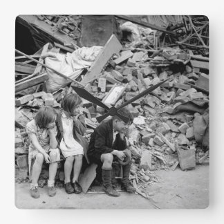 Children of an eastern suburb of London_War image Square Wall Clock