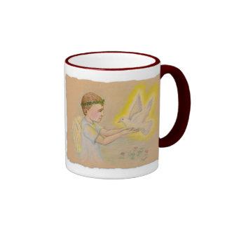 Children of Light Angel Boy Ringer Mug