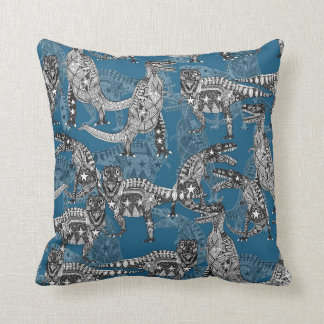 Children of the Late Cretaceous ~ blue Throw Pillow