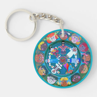Children of The World...with your colors. Double-Sided Round Acrylic Keychain