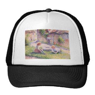Children on a farm by Camille Pissarro Trucker Hat
