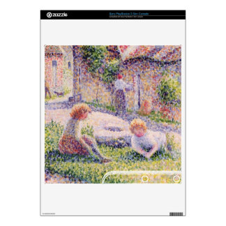 Children on a farm by Camille Pissarro PS3 Slim Console Decal