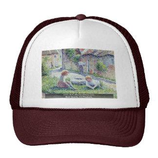 Children On A Farm By Pissarro Camille Trucker Hat