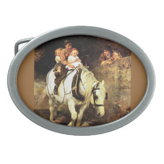 Children on a Horse painting Belt Buckle