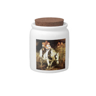 Children on a Horse painting Candy Jar