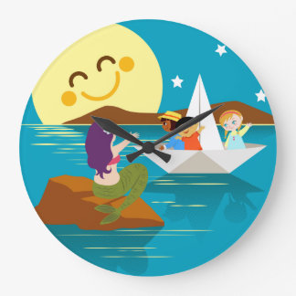 Children on a paper boat waving to a mermaid. large clock