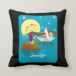 Children on a paper boat waving to a mermaid. throw pillow